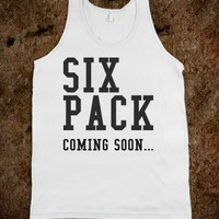 Six pack coming soon white tank top tshirt tee t shirt