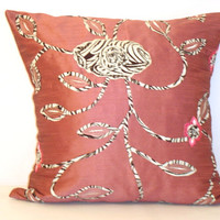 Appliqué animal print throw decorative pillow – Indian pink silk accent pillow – 20x20 inches floral pillow cover case – Indoor home decor