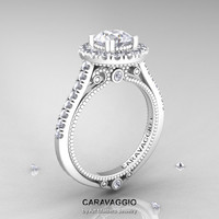 Caravaggio 14K Ceramic White Gold 1.0 Ct Russian CZ Diamond Engagement Ring, Wedding Ring R621-14KCWGDCZ
