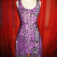 MOZY USA DRESS W ASYMMETRIC HEM ANIMAL PRINT PURPLE!SIZE S-L!NEW !MADE IN USA