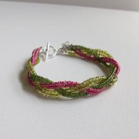 Green and Pink Braided Seed Bead Bracelet