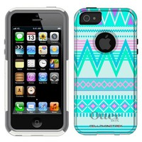 Otterbox Commuter Series Aztec Andes Tribal White and Teal Pattern Hybrid Case for iPhone 5 & 5s