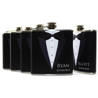 Liquor Flasks, Groomsmen Gifts, 6oz Tuxedo Flasks, Wedding Party Gifts