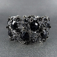 FASHION ANTIQUE GOLD METAL FLORAL BLACK STONE OPEN BRACELET
