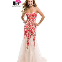 (PRE-ORDER) Flirt by Maggie Sottero 2014 Prom Dresses-Poppy Nude Strapless Tulle Dress with Lace Appliques