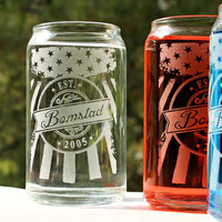 Soda or Beer Can Drinking Glasses,16oz Patriotic American Flag w/ Personalized Name logo & Est Date,Wedding Gift,Couples Gift,Hostess Gift