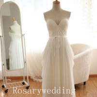 Simple sweetheart floor length chiffon wedding dress