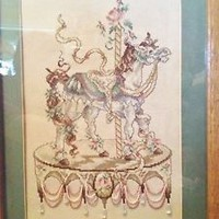 Carousel Cross Stitch Handmade Finished Picture