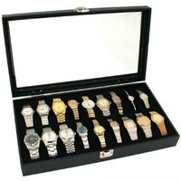 18pc Black Watch Travel Tray Showcase Display Case Unit W/ Glass Top