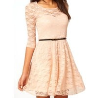 OFTEN Sexy Spoon Neck 3/4 Sleeve Lace Skater Dress Belt 4 Color 3 Size