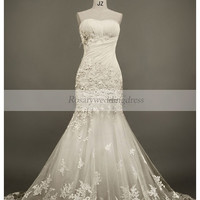 Mermaid high quality embellishment tulle wedding dress