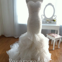 Mermaid/Trumpet floral organza haute wedding dress
