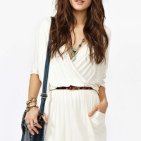 Draped Across Dress - Cream