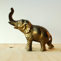 Vintage Brass Elephant Figurine with Upward Trunk Large
