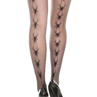 Black Sheer Spider Backseam Tights