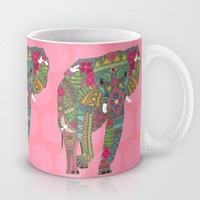 painted elephant pink Mug by Sharon Turner