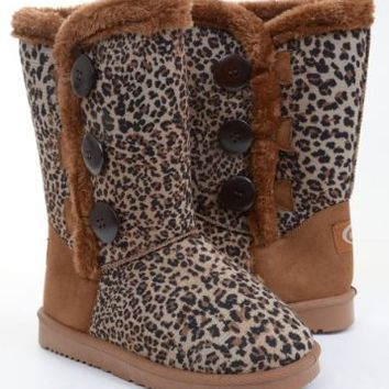 Durable Outdoor Fully Lined Faux Sheepskin Fur Shearling Mid Calf 3 Button Boots Leopard