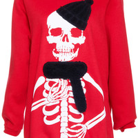 ROMWE Modern Skeleton Print Long-sleeved Red Sweatshirt