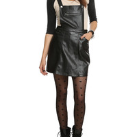 Black Faux Leather Suspenders Skirt