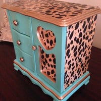 Vintage Jewelry Box Hand Painted Aqua decoupaged Cheetah