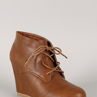 Caroline-01 Leatherette Lace Up Round Toe Wedge Bootie