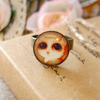 Original hand-time jewel cat eyes open ring 738 | funnygirl5588 - Jewelry on ArtFire