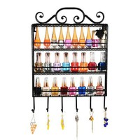 Classic Black Metal Wall Mounted Multi Purpose 3 Shelf 6 Hanging Hooks Display Stand for Kitchen Spice Organizer Towel Hanger or Nail Polish Jewelry Holder