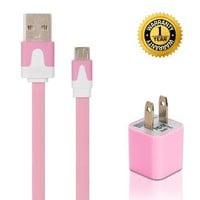 G-Cord (TM) 10 Feet Extra Long Android Charger with Travel Adapter AC Wall Charger. Flat Micro-B USB Charging Cable For Android Phones Samsung Galaxy Series, HTC, Blackberry Series and More (Pink)