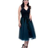 1950s Style Black & Teal Tulle Prom Dress
