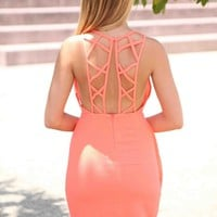 Coral Lattice Back Plunge Neckline Dress with Layered Skirt