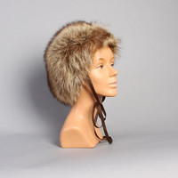60s Fluffy FUR HAT / Brown & Tan RACCOON Winter Bonnet, Ribbon Ties