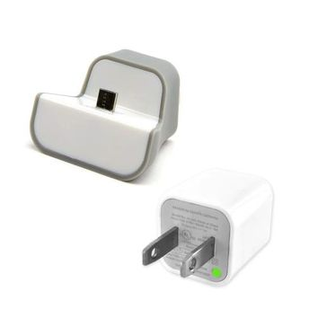 Gray/ White Universal Wall Mount Mini Dock USB Charger & USB Wall Charger Adapter Bundle for Micro USB Devices