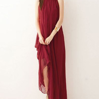 Wine red chiffon dress maxi dress long dress plus size dress sundress summer dresses Evening dress tunic dress party dress chiffon skirt