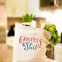 "Large, Sturdy, Thick Canvas ""Groceries & Sh*t"" Tote Bag"