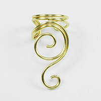 Swirly Ear Cuff Gold by ShutUpAndCuffMe on Etsy