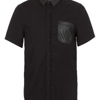 Black Leather Look Yoke Short Sleeve Shirt - TOPMAN USA