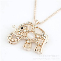 Gold Edge Rhinestones Elephant Pendants Necklaces Lucky Long Chain Jewelry for Christmas,100489 (a)