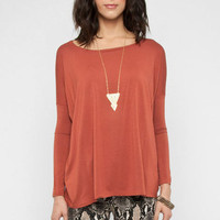 Back to Basics Long Sleeve Top in Rust :: tobi