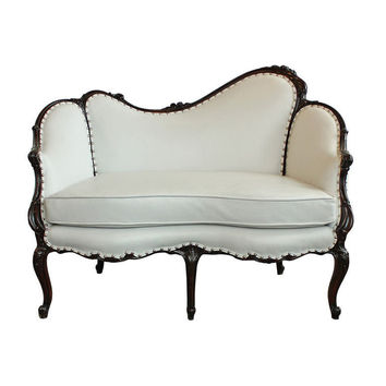 Carrocel - Antique Victorian White Leather Mahogany Loveseat - 1stdibs