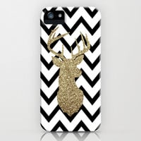Glitter Deer Silhouette with Chevron iPhone & iPod Case by daniellebourland