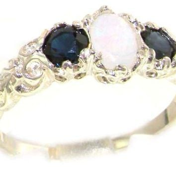 Ladies Solid Sterling Silver Natural Opal & Sapphire English Victorian Trilogy Ring - Finger Sizes 5 to 12 Available