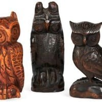 One Kings Lane - John Loecke & Jason O. Nixon - Vintage Carved Wood Owls, Set of 3