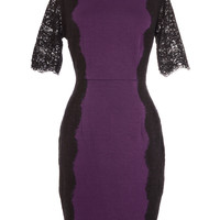 Plum Perfection Lace Trim Dress