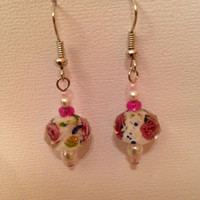 Pink and White Flower Dangle Earrings