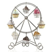 Francois et Mimi DCP0008 8-Cup Metal Rotating Ferris Wheel Cupcake and Dessert Stand Holder, Chrome Finish