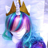 Unicorn Wig, Princess Celestia, MLP Costume My Little Pony Pink, Green, Purple, Blue Pony Halloween, Unicorn Wig, Unicorn Costume