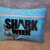 SHARK WEEK Tampon and Feminine Pad Holder / Zippered Fabric Purse Pouch / Tampon Keeper