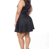 Sashay Season Plus Size Back Bow Dress - Black