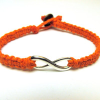 Infinity Bracelet, Orange Macrame Hemp Jewelry, Couples or Friendship Bracelet, Silver Charm