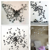 3D Butterfly Wall Sticker Decor Pop-up Sticker Home Room Art Decorations 12/24P
